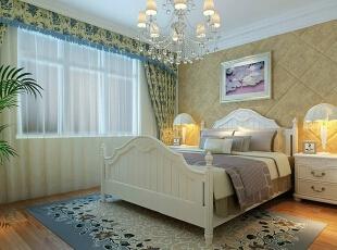 主卧的设计在于床头用软包做背景,着重在展示欧式经典的高贵与奢华。,88平,6万,现代,两居,