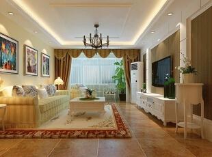 运用吊顶的不同造型将客厅走廊有机分割,又融为一体,是空间更加和谐!,88平,6万,现代,两居,