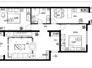 6.1万精装润城88平欧式田园风格设计-户型图,88平,6万,现代,两居,