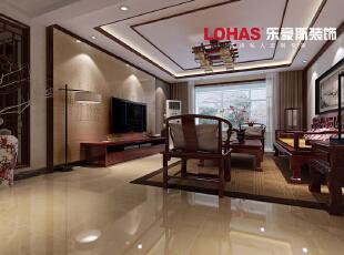 中式风格带给人庄重、典雅、祥和的寓意,电视背景墙采用带有书法的大理石材设计,彰显了主人的品位。,140平,16万,中式,三居,石家庄海棠湾装修,客厅,