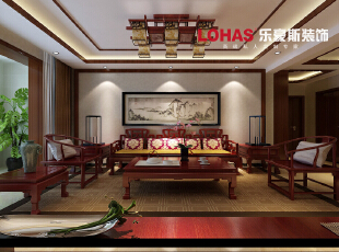 ,140平,16万,中式,三居,石家庄海棠湾装修,客厅,