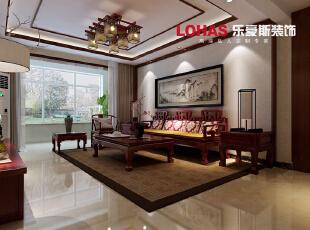 中式风格家具讲究对称,重视文化意蕴,中式的实木家具加上沙发背景墙采用挂画的运用,彰显了主人的气质。,140平,16万,中式,三居,石家庄海棠湾装修,客厅,