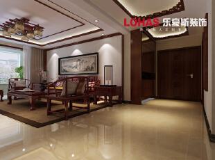 中式风格家具讲究对称,重视文化意蕴,中式的实木家具加上沙发背景墙采用挂画的运用,彰显了主人的气质。,140平,16万,中式,三居,石家庄海棠湾装修,玄关,客厅,
