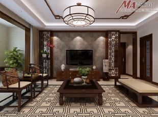 石材电视背景墙与沙发背景墙石材呼应,大气磅礴,自然流畅。,130平,15万,中式,三居,客厅,