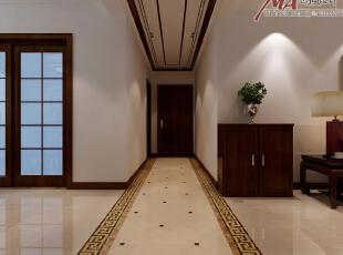 过道地面拼花与顶面造型形成呼应,中式背景墙的设计彰显中式风格大气图片