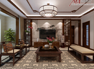 中式风格中家具陈设讲究对称,重视文化意蕴;配饰擅用字画、古玩、卷轴、盆景,精致的工艺品加以点缀,更显主人的品位与尊贵,木雕画以壁挂为主,更具有文化韵味和独特风格,体现中国传统家居文化的独特魅力。,130平,15万,中式,三居,客厅,