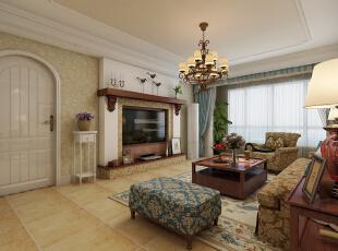 电视墙用壁炉造型,使美式的味道更佳浓重。,129平,10万,美式,三居,客厅,