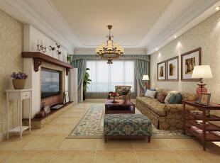 空间整体感觉休闲、自然。让人一回到家就能够全身心的放松下来。,129平,10万,美式,三居,客厅,