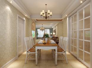 餐桌摆放在餐厅正中,没有多余的摆设,显得空间更宽敞,不拥挤。,129平,10万,美式,三居,餐厅,