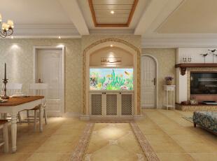 入户玄关处放置一个鱼缸,有招财金宝的寓意,同时走廊顶面和地面用相呼应的造型使空间有更明显的区域划分。,129平,10万,美式,三居,餐厅,
