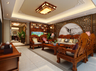 石家庄瀚唐装修,126平,15万,中式,三居,客厅,
