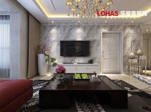 电视背景墙采用斜铺的微晶石材设计,与地面的瓷砖相呼应。精美的大吊灯使整个客厅金碧辉煌。,138平,12万,现代,三居,