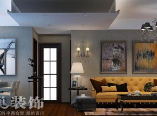 中力七里湾两室两厅装修现代简约风格70平方案例效果图——客餐厅全景,吊灯和壁灯增加空间的层次感。,70平,7万,现代,两居,