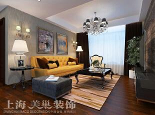 中力七里湾现代简约风格装修案例两室两厅70平方户型装修效果图——客厅,橘黄色沙发的运用,让整个空间充满年轻气息。,70平,7万,现代,两居,
