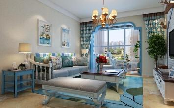 翰林颐园128平三室两厅地中海风格装修效果图