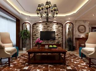,178平,25万,三居,石家庄星河御城装修,客厅,美式,