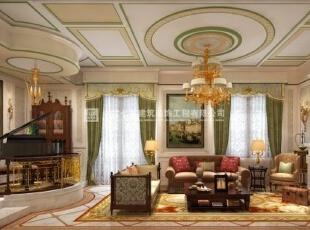 河南长基燕月湾别墅样板房装修效果图 客厅,900平,10万,欧式,别墅,客厅,
