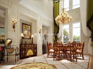 河南长基燕月湾别墅样板房装修效果图 餐厅,900平,10万,欧式,别墅,餐厅,