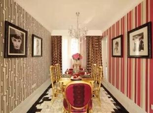 ,142平,17万,现代,四居,餐厅,红色,黑白,