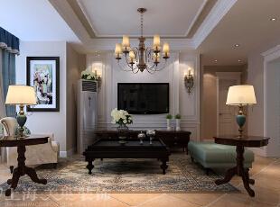 天骄华庭简约美式装修三室两厅89平案例效果图——电视背景墙,多个层次来表现,顶面线条多层叠加及颜色的深浅变化,用来增加空间感。,89平,6万,美式,三居,