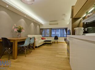,50平,现代,两居,客厅,餐厅,厨房,白色,简约,原木色,玄关,