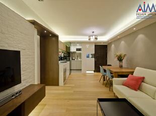 ,50平,现代,两居,简约,客厅,餐厅,厨房,白色,原木色,玄关,