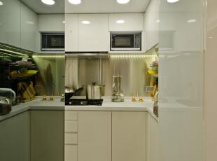 ,50平,现代,两居,简约,厨房,白色,黑白,