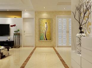 一进门玄关背景墙的设计采用极具有艺术气息的挂画,一进门就让我们感受到主人的艺术文化气息。,134平,10万,简约,三居,玄关,