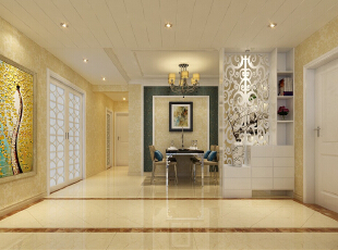 玄关的镂空设计不仅很好的划分了区域,在不影响采光的情况下,美观又实用。,134平,10万,简约,三居,石家庄奥北公元装修,餐厅,