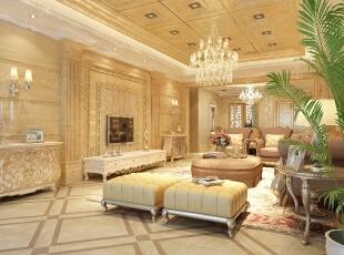 欧式风格给人的感觉就是高贵、华丽。确实,单看这款效果图的地毯、沙发就已经显示出来它的华丽了。我们不得不为这个客厅吊顶、水晶吊灯而感到有一种成就感、高贵感。的确,整个客厅高达而宽广,特别是在那三层水晶吊灯的搭配下,那种华丽优越感由心中涌出来,更显主人的艺术情怀。,178平,22万,欧式,三居,客厅,