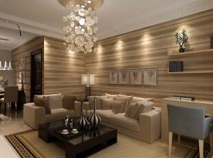 客厅选用咖啡色的条纹墙纸,是整个客厅更加具有条理性,再加上沙发、地毯、地砖的颜色,看起来更加显得一体。,98平,3万,现代,两居,