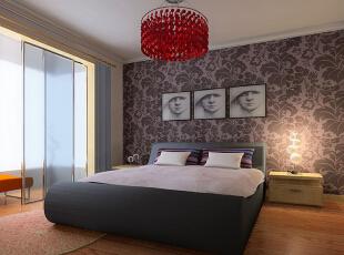 卧室低调中不失一种时尚感,采用显著的红色作为吊顶,在视觉上增添了一丝张扬的味道。,99平,7万,现代,三居,