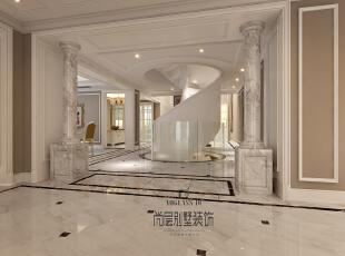 挑空的玄关和别致的旋转楼梯,使得整个空间在大的色调中独树一帜,豁然开朗。,730平,450万,新古典,别墅,