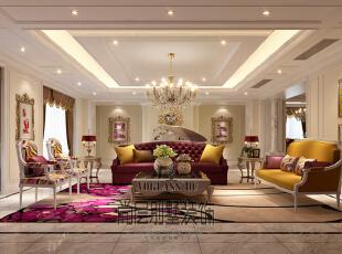 整体的室内空间整体色主要以咖啡色和生成色为主,杂糅的色调穿插到每个角落,每个空间不同色度的渐变,使整个空间充满惊喜。,730平,450万,新古典,别墅,客厅,