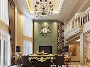 建业森林半岛260平方复式新古典风格——客厅电视背景墙效果图,挑空的客厅空间,利落的线条规划,让整体视觉层次开阔、丰富。,260平,26万,新古典,复式,