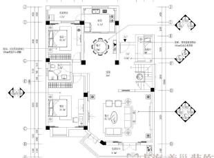 建业森林半岛260平方复式新古典风格——--一层平面布局方案,260平,26万,新古典,复式,