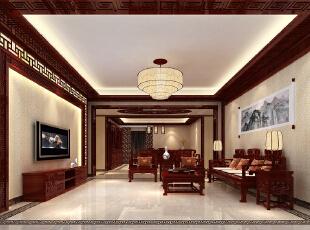 ,220平,26万,中式,四居,客厅,原木色,