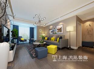 郑州永威五月花城145平居室三室两厅简约风格装修效果图——客厅沙发背景墙,撞色的软装配饰,让您几万的基装瞬间营造出摩登的视觉空间。,145平,17万,现代,三居,