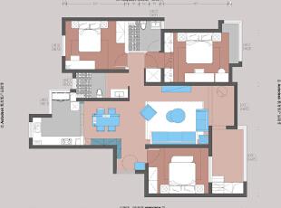 永威五月花城装修案例效果图三室两厅145平——户型平面布局,145平,17万,现代,三居,