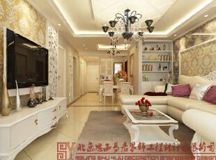 客厅全景图,110平,简约,两居,客厅,