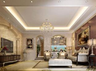 郑州林溪湾别墅260平方简欧风格——客厅装修案列效果图,260平,20万,欧式,别墅,