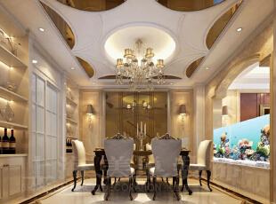 郑州林溪湾别墅260平方简欧风格——餐厅样板房装修案列效果图,260平,20万,欧式,别墅,