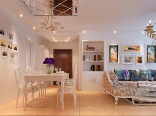 房天下装饰田园客厅案例欣赏,96平,7万,田园,三居,简约,欧式,紫色,