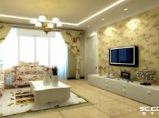 墙面小碎花的壁纸,地面仿古砖装 饰,顶面股线装饰,使空间更突显大,,80平,6万,田园,两居,
