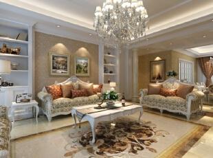 稳重而温暖的客厅,用对称的方式、古典偏现代的手法连贯餐厅及公共空间,搭配壁面造型,营造出优雅高质感的空间氛围,典雅而不繁复。缔造出一个不只是豪华大气,更多的是惬意和浪漫的居住空间。室内多用带有图案的壁纸、地毯、窗帘、床罩、及帐幔以及古典式装饰画或物件;为体现华丽的风格,家具、门、窗多漆成白色,家具、画框的线条部位饰以金线、金边。,180平,150000万,欧式,小户型,