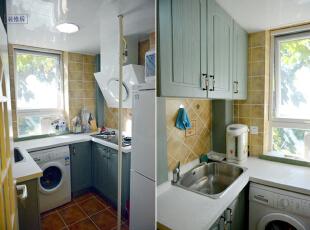 厨房装修前后实景对比图设计说明:原房屋且厨房年久失修,厨房设施损坏严重,冰箱没有位置摆放。改造后的厨房不仅墙地砖重新换过,更选择了一套蓝色整体橱柜,这样物品就能得到更好的归置,既美观又实用。,57平,56000万,地中海,两居,