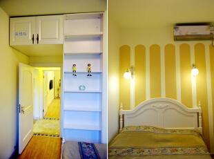 次卧装修前后实景对比图设计说明:原次卧面积很小,采光不足,而且空调为原始的窗式空调,阻挡了光源,还容易产生灰尘。装修后的房间不仅重新规整了墙面地面,而且重新布置了房间的格局与朝向,让房间看起来更加的宽敞明亮。,57平,56000万,地中海,两居,