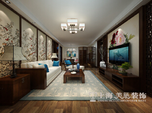 郑州农业厅家属院三室两厅120平装修设计案例效果图——新中式风格客厅全景,120平,10.5万,中式,三居,客厅,