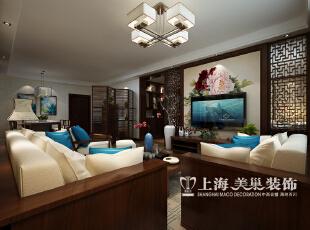 郑州农业厅家属院三室两厅120平装修设计案例效果图——新中式风格客厅电视背景墙,120平,10.5万,中式,三居,客厅,