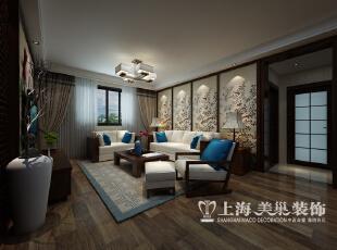 郑州农业厅家属院三室两厅120平装修设计案例效果图——新中式风格客厅沙发背景墙,120平,10.5万,中式,三居,客厅,